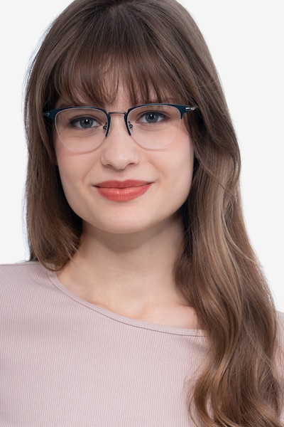 Wings Blue Metal Eyeglass Frames for Women from EyeBuyDirect, Front View
