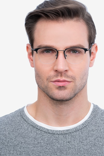 Wings Black Metal Eyeglass Frames for Men from EyeBuyDirect