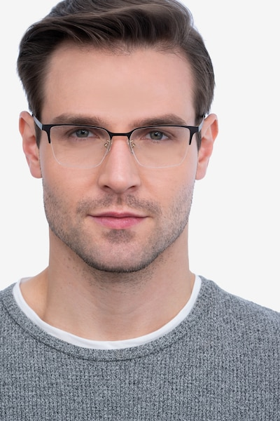 Brink Brown Metal Eyeglass Frames for Men from EyeBuyDirect, Front View