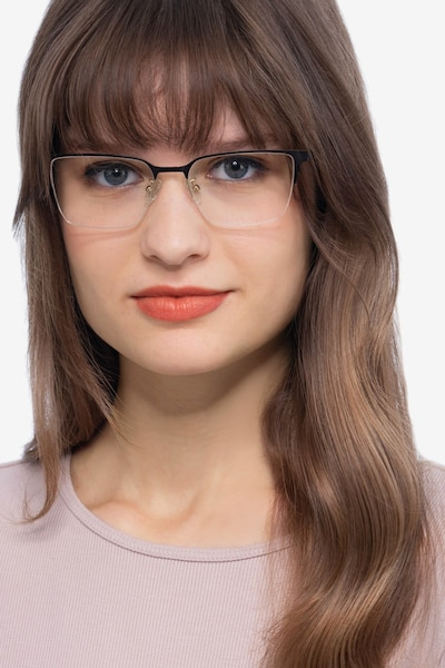 Brink Brown Metal Eyeglass Frames for Women from EyeBuyDirect, Front View