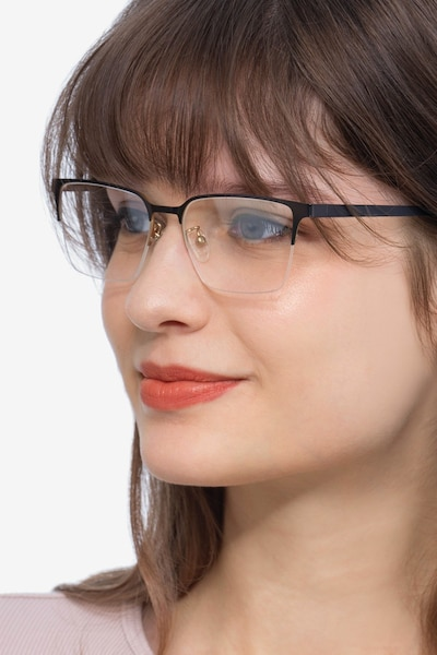Brink Brown Metal Eyeglass Frames for Women from EyeBuyDirect