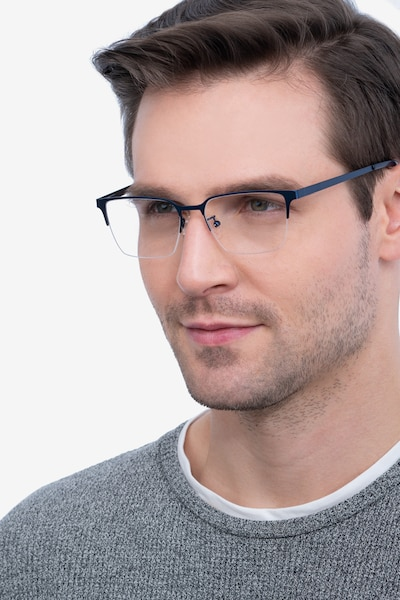 Brink Blue Metal Eyeglass Frames for Men from EyeBuyDirect, Front View