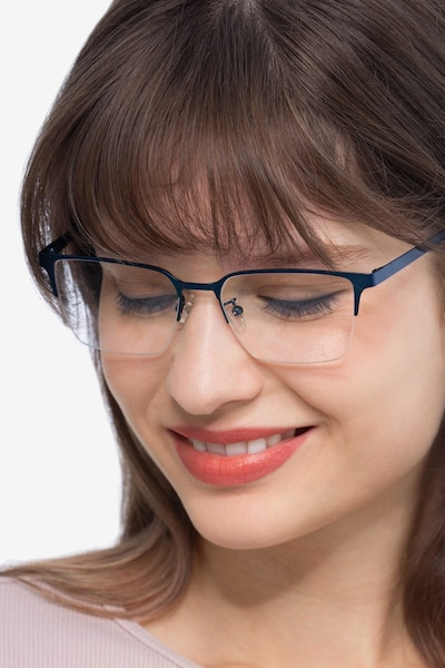 Brink Blue Metal Eyeglass Frames for Women from EyeBuyDirect