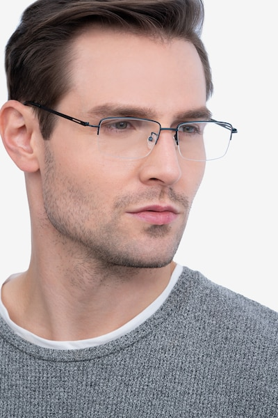 Studio Navy Metal Eyeglass Frames for Men from EyeBuyDirect, Front View