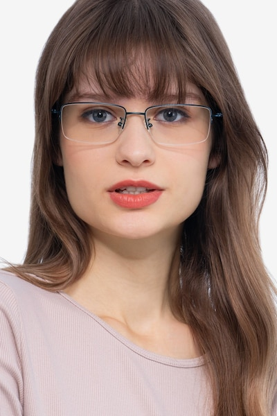 Studio Navy Metal Eyeglass Frames for Women from EyeBuyDirect, Front View
