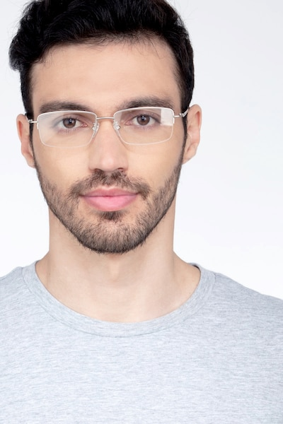 Studio Argenté Métal Montures de Lunettes pour Hommes d'EyeBuyDirect, Vue de Face