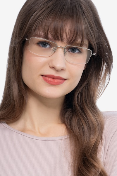 Studio Silver Metal Eyeglass Frames for Women from EyeBuyDirect, Front View