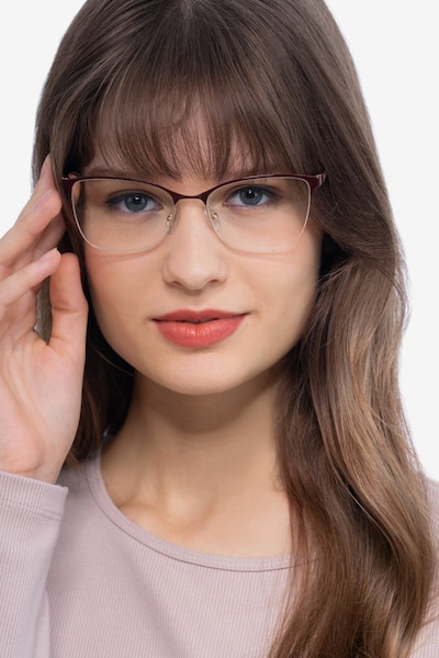 Kira Burgundy Metal Eyeglass Frames for Women from EyeBuyDirect, Front View