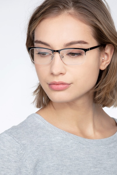 Rally Black Metal Eyeglass Frames for Women from EyeBuyDirect, Front View