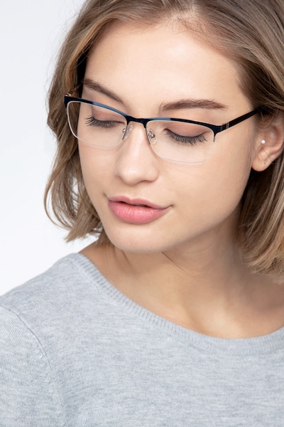 Rally Navy Metal Eyeglass Frames for Women from EyeBuyDirect, Front View