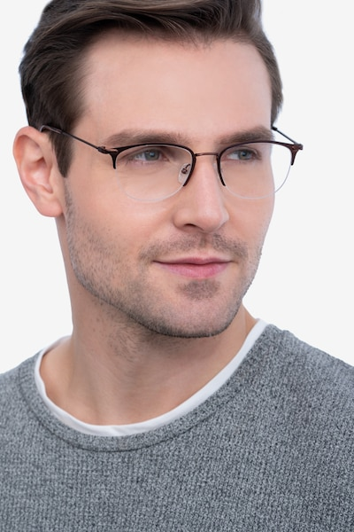 Elise Brown Metal Eyeglass Frames for Men from EyeBuyDirect, Front View