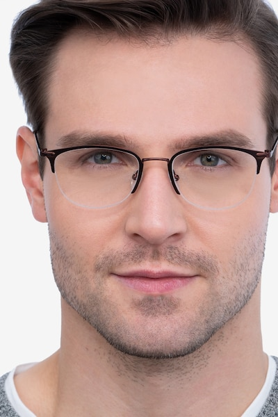 Elise Brown Metal Eyeglass Frames for Men from EyeBuyDirect