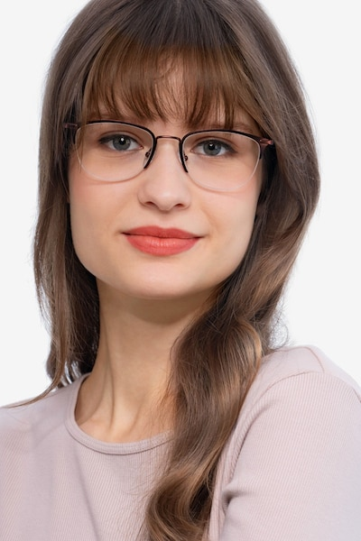 Elise Brown Metal Eyeglass Frames for Women from EyeBuyDirect, Front View