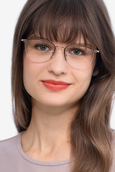 Elise Rose Gold Metal Eyeglass Frames for Women from EyeBuyDirect, Front View