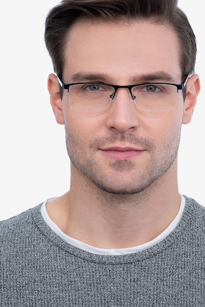 Singapore Matte Black Metal Eyeglass Frames for Men from EyeBuyDirect