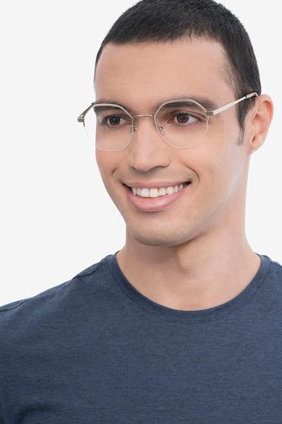 Cowen Silver Metal Eyeglass Frames for Men from EyeBuyDirect