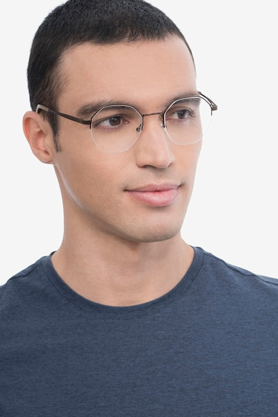 Cowen Bronze Metal Eyeglass Frames for Men from EyeBuyDirect, Front View