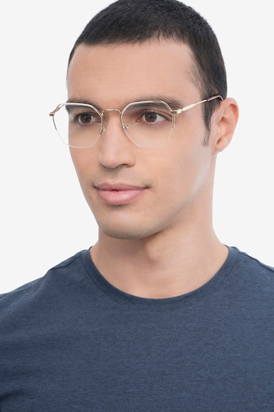 Cruz Gold Metal Eyeglass Frames for Men from EyeBuyDirect, Front View