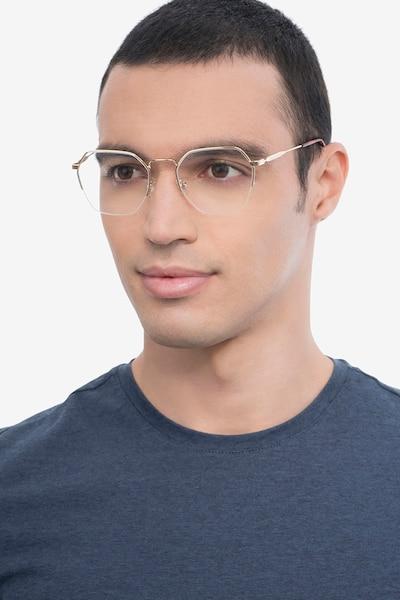 Cruz Doré Métal Montures de Lunette de vue pour Hommes d'EyeBuyDirect, Vue de Face