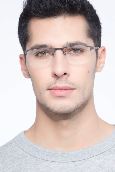 Algorithm Gunmetal Metal Eyeglass Frames for Men from EyeBuyDirect, Front View