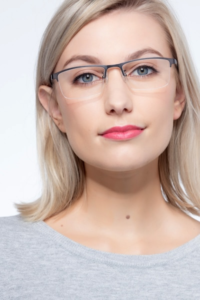 Algorithm Gunmetal Metal Eyeglass Frames for Women from EyeBuyDirect
