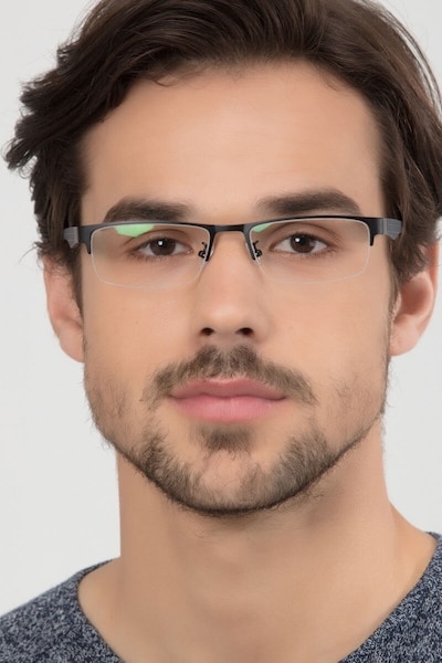 Beau Black Metal Eyeglass Frames for Men from EyeBuyDirect