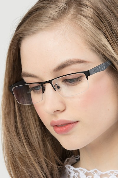 Beau Black Metal Eyeglass Frames for Women from EyeBuyDirect