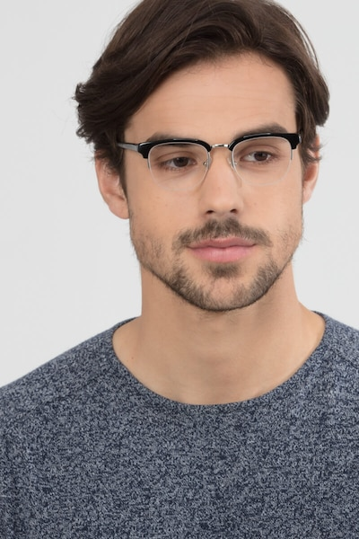 Genbu  Black  Acetate-metal Eyeglass Frames for Men from EyeBuyDirect, Front View