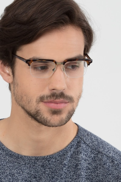 Kurma Tortoise Metal Eyeglass Frames for Men from EyeBuyDirect, Front View
