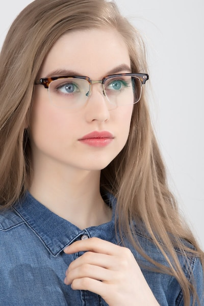Kurma Tortoise Metal Eyeglass Frames for Women from EyeBuyDirect, Front View