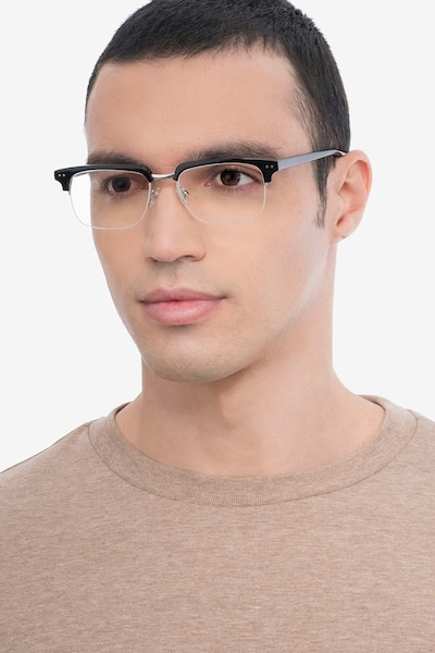 Kurma Black Acetate Eyeglass Frames for Men from EyeBuyDirect, Front View