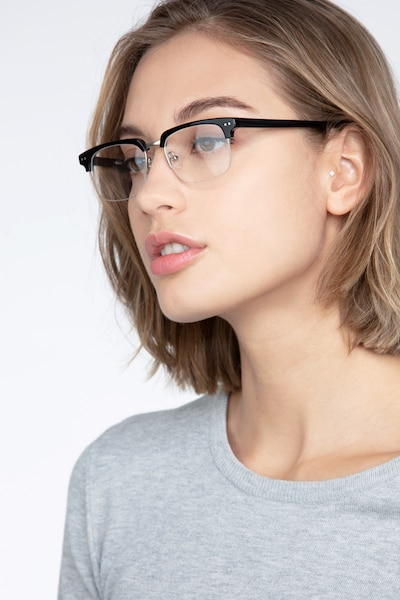 Kurma Black Acetate Eyeglass Frames for Women from EyeBuyDirect, Front View