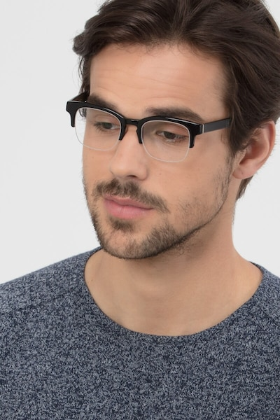 Luxe Black Acetate Eyeglass Frames for Men from EyeBuyDirect, Front View