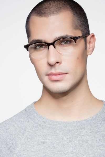 Luna Tortoise Acetate Eyeglass Frames for Men from EyeBuyDirect, Front View