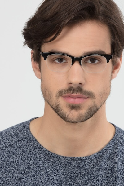 Luna Black Acetate Eyeglass Frames for Men from EyeBuyDirect, Front View