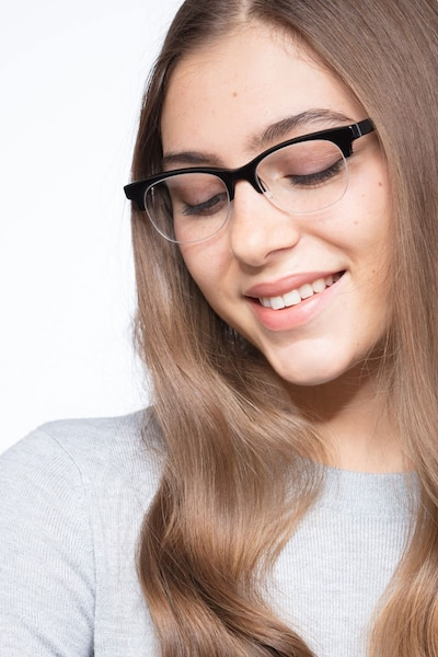 Luna Black Acetate Eyeglass Frames for Women from EyeBuyDirect