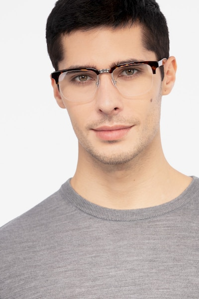 Phonic Tortoise Metal Eyeglass Frames for Men from EyeBuyDirect, Front View