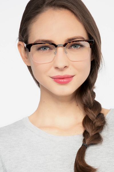 Phonic Tortoise Metal Eyeglass Frames for Women from EyeBuyDirect, Front View
