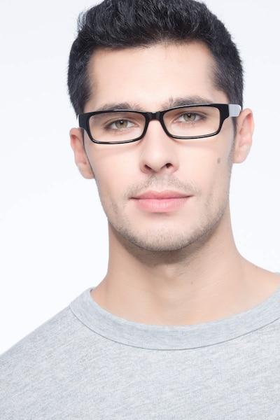 Dieppe Black Acetate Eyeglass Frames for Men from EyeBuyDirect, Front View