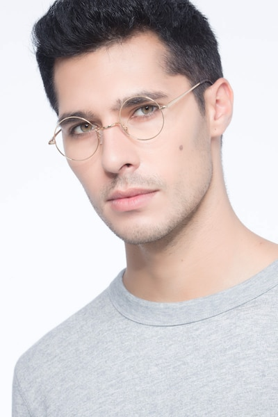 Abazam Golden Metal Eyeglass Frames for Men from EyeBuyDirect, Front View