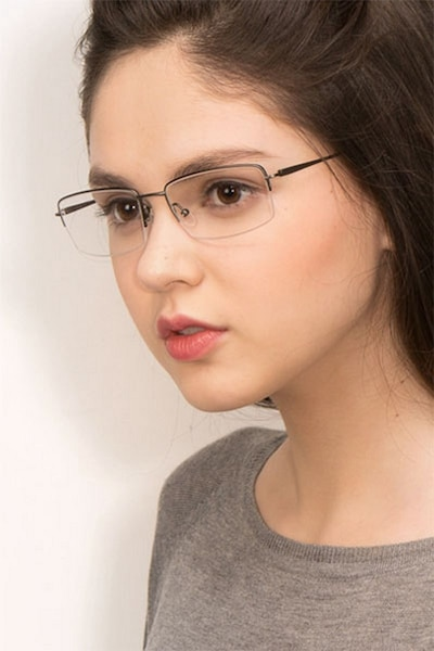 Kanick Gunmetal Titanium Eyeglass Frames for Women from EyeBuyDirect, Front View