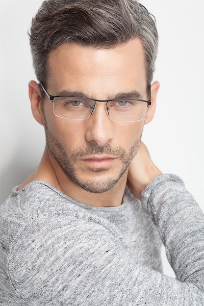 Lake Black Titanium Eyeglass Frames for Men from EyeBuyDirect, Front View