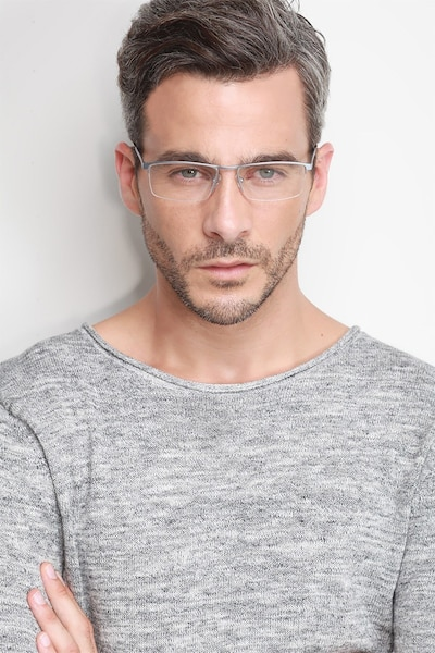 Lake Gray Titanium Eyeglass Frames for Men from EyeBuyDirect, Front View