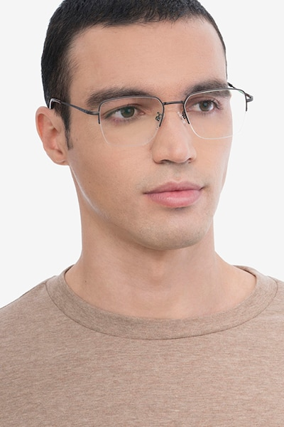 James Gunmetal Titanium Eyeglass Frames for Men from EyeBuyDirect, Front View