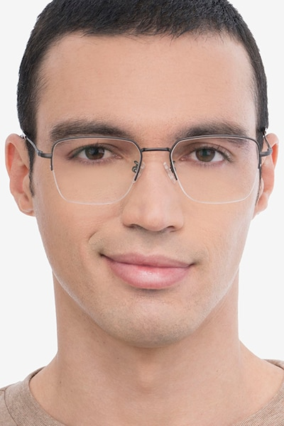 James Gunmetal Titanium Eyeglass Frames for Men from EyeBuyDirect