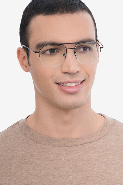 Conrad Black Titanium Eyeglass Frames for Men from EyeBuyDirect, Front View