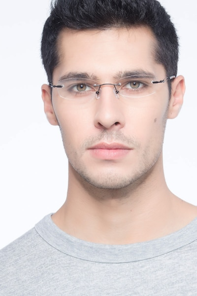 Matera Black Metal Eyeglass Frames for Men from EyeBuyDirect, Front View