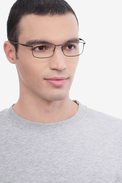 Oakley Barrelhouse Pewter Metal Eyeglass Frames for Men from EyeBuyDirect, Front View