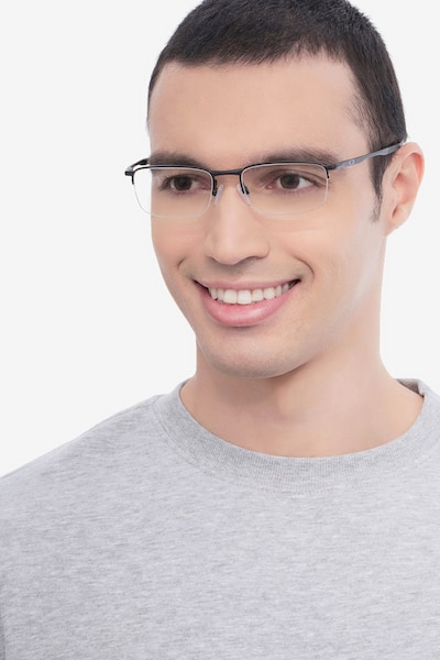 Oakley Barrelhouse 0.5 Matte Black Metal Eyeglass Frames for Men from EyeBuyDirect, Front View
