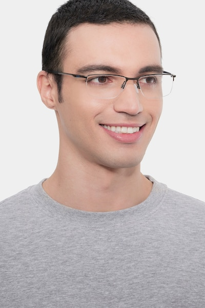 Oakley Socket 5.5 Satin Pewter Metal Eyeglass Frames for Men from EyeBuyDirect, Front View